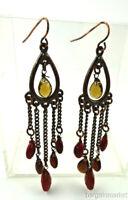 3 inch Long Jasper Bead Dangle Drop Light Weight Chandelier Earrings