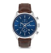 VINCERO Chrono S Luxury Men's Wrist Watch - Silver + Blue + Croc Brown