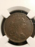 1804 Draped Bust Half Cent Crosslet 4 with Stems C-9 NGC AU Details