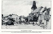 1914 * un villaggio segmento in Lagarde AM 11.9.1914 * antique print