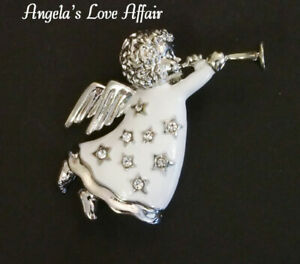 CHRISTMASY SILVER ENAMEL CHRISTMAS WHITE ANGEL BLOWING A TRUMPET CRYSTAL BROOCH