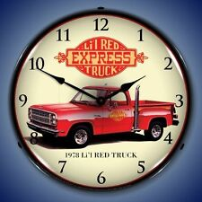 "1978 LITTLE LI'L RED EXPRESS TRUCK DODGE 14"" LIGHTED WALL CLOCK RETRO GARAGE NEW"