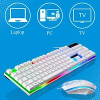 LED Colorful Backlit Computer Gaming RGB Keyboard And Mouse Ergonomic Design