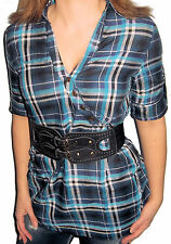 New CORSET BELTED Black & Blue PLAID Button Top TAB SLEEVE Shirt Large L