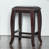 """24"""" Height Counter Stool Solid Wood Upholstered Kitchen Dining Seat Dark Brown"""