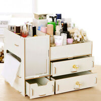 Makeup Cabinet Drawer Mirror Organiser Jewelry Cosmetic Storage Box Case Wooden