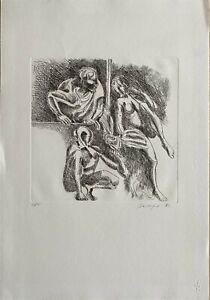 Vittorio Basaglia incisione acquaforte datata 1982 Dedica 50x35 firmata numerata