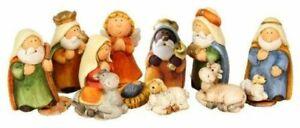 Hillfield originelles 11-teiliges Krippenfigurenset Kinderkrippe Comic Keramik