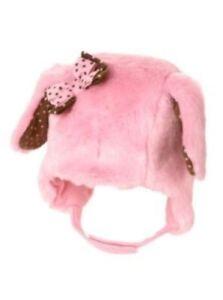 GYMBOREE POLKA DOT PUPPY PINK DOG FUR w/ BOW TRAPPER HAT 0 3 6 12 18 24 NWT
