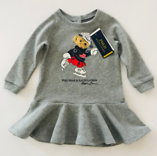 Polo Ralph Lauren Baby Girl 12 Months French Terry Dress Ice-Skating Bear Mascot
