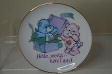 "Care Bears Featuring HUGS 'N"" TUGS Porcelain Plate ""Hello World here I am !"