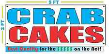 CRAB CAKES Banner Sign NEW Larger Size Best Quality for The $$$ Fair Food