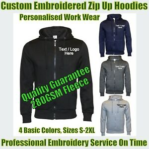 New Custom Embroidered Fleece Zip Up Hoodies Personalised With Your Text Free