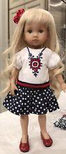 "Cute 10"" Boneka Dianna Effner Tuesday's Child Red White Blue Dress Applique24cm"