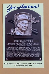 JOE TORRE Autographed Hall Of Fame PLAQUE NEW YORK YANKEES CARDINALS