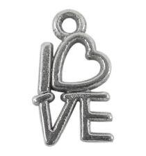 Lot de 20 breloques LOVE en métal  métal argenté vieilli ,perles,fimo-bc145