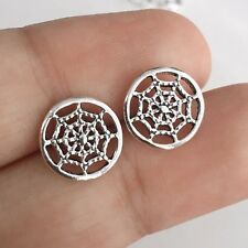 925 Sterling Silver Cobweb Spider Insect Web Stud Earrings Halloween Gothic NEW
