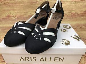 Size 8.5 Aris Allen Women's 1930sBlack Satin Low-Heeled Dance Shoes Street Soles