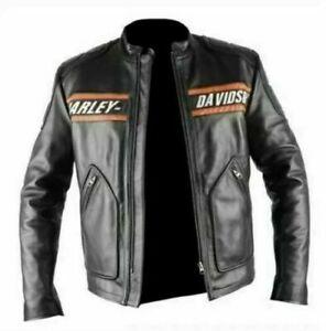 Men's Harley Davidson Goldberg Motorcycle Motorbike Cowhide Leather Jacket