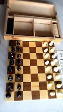 VINTAGE SET OF PLASTIC CHESS PIECES WITH WOOD CARRY CASE/BOARD A RareCats Game