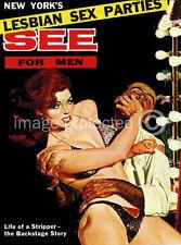 Lesbian Sex Parties See For Men Vintage Pulp Art Poster 18x24