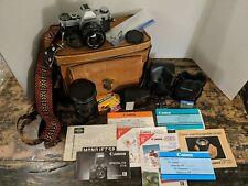 Canon AE-1 35mm SLR Film Camera Lot w/ 50mm 1:18, FD 35-105mm 1:3.5 lens, extras