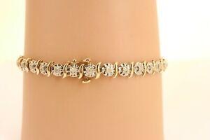 9ct Hallmarked Yellow Gold Half carat Diamond Line / Tennis Bracelet. NICE1