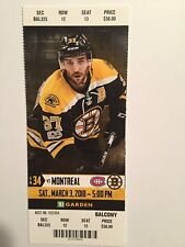 BOSTON BRUINS VS MONTREAL CANADIENS MARCH 3, 2018 TICKET STUB