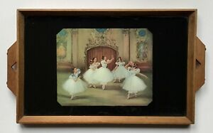 VINTAGE ART DECO BALLET THEMED WOOD AND GLASS SERVING TRAY