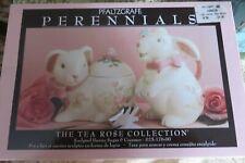 Pfaltzgraff Tea Rose Bunny Rabbit Cream & Sugar Set W/Lid. new in box
