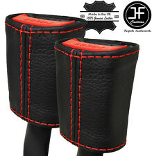 RED STITCHING 2X SEAT BELT LEATHER COVERS FITS FORD MONDEO MK5 2014-2017