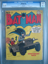 Batman #12 CGC 3.0 WP 1942 1st mention of Secret Underground