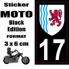 Sticker style Immatriculation Plaque MOTO black NOIR Département AQUITAINE 17