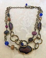 NWT CHICO'S Enamel & Beads double Strand Necklace Antique Brass Tone Metal adjus