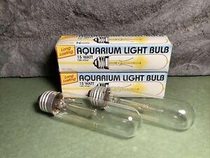 2 Lot | 15W Incandescent Aquarium Bulb | Fits E26 Socket | Clear