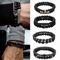 New Crown Tiger Eye Natural Stone Beaded Bracelet Men Matte Lava Jewellery Gifts