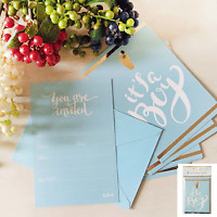 BABY SHOWER BOY BLUE POSTCARD INVITATIONS PACK OF 8 BABY SHOWER DECORATIONS