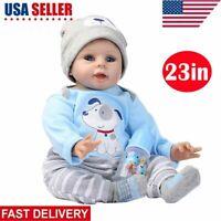 22'' Lifelike Newborn Baby Doll Silicone Vinyl Reborn Babies Handmade Xmas Gift