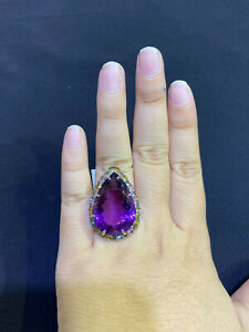 NATURAL AMETHYST 22X19 MULTI SAPPHIRE DIAMOND CUT STERLING SILVER 925 RING