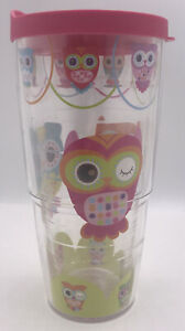 Tervis Travel Tumbler 24oz LG Multicolor Owls Hot/Cold Insulated Cup Lid + Straw