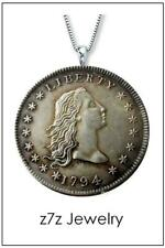 """1794 FLOWING HAIR DOLLAR Necklace - vintage replica us silver coin 24"""""""