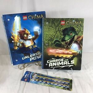 Lego Chima Wide Ruled Notebooks Spiral Composition Book Home School Pencils Set
