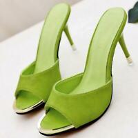Women Casual Slipper Shoes Stiletto High Heel Open Toe Pointy toe Mules Slip on