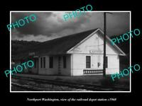 OLD POSTCARD SIZE PHOTO OF NORTHPORT WASHINGTON THE RAILROAD STATION c1960