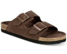 Dr. SCHOLL'S MEN'S FIN SLIDE SANDAL BROWN SUEDE 12M RUN ONE SIZE SMALLER