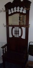 Antique Solid Wood Hall Tree Beveled Mirror Nice Carvings Early 1900's P/U 92708
