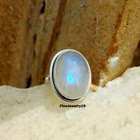 Rainbow Moonstone Ring 925 Sterling Silver Band Ring Handmade Ring Jewelry A79