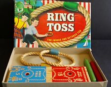 RING TOSS GAME Wood &  Rope Rings MADE USA TRANSOGRAM GOLD MEDAL Vintage w/ Box