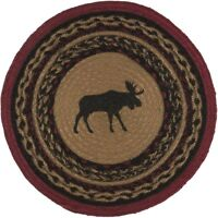 "13"" Moose Tablemat, Braided Jute, Round, Rustic Cabin, Placemat, Table Mat"