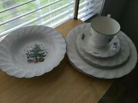 Lot of 7 Nikko Happy Holidays  2 each Dinner & Salad Plates Soup bowl cup saucer